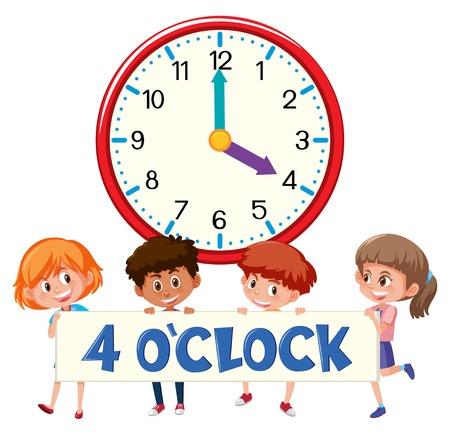 Children and clock 4 o'clock illustration Ilustração