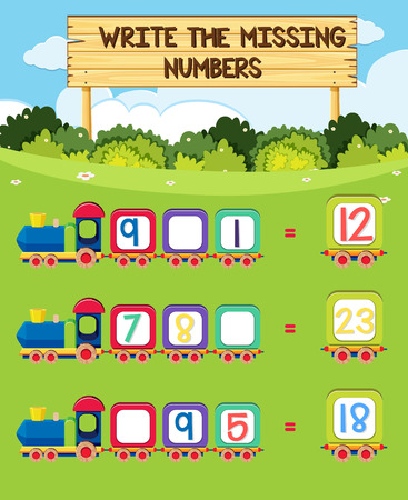 A math number worksheet illustration Ilustração