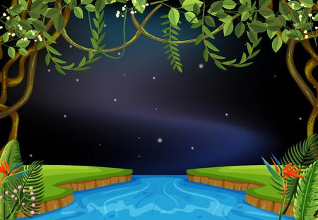 River scene at night illustration