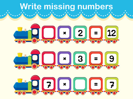 Write the missing numbers train concept illustration Vectores