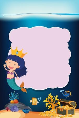 girl mermaid underwater frame concept illustration