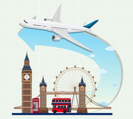 England landmarks with airplane illustration
