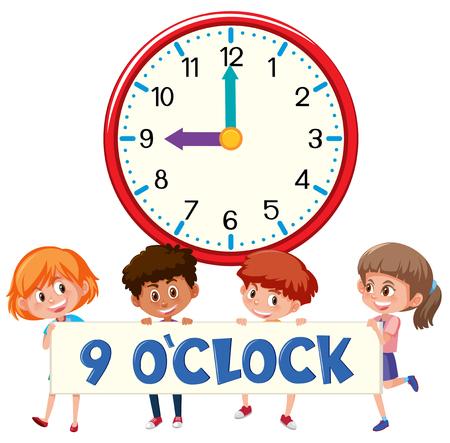 Children and clock 9 o'clock illustration Illustration