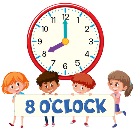Eight o'clock with children  illustration