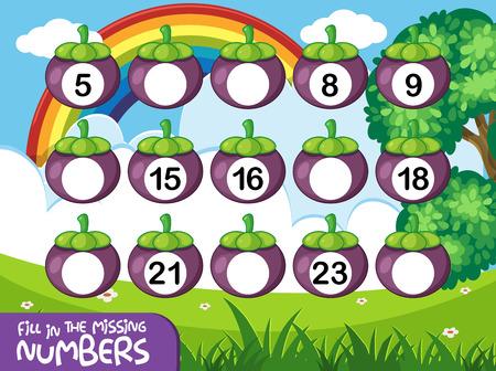 A math number worksheet illustration Vecteurs