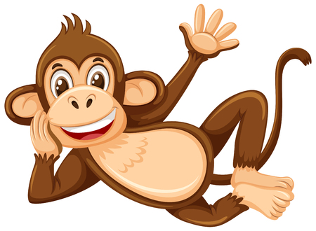 A cute monkey on white background illustration Illustration