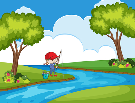 child fishing in park scene illustration Stock Illustratie