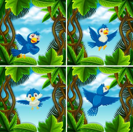Set of cute blue bird in scenes illustration