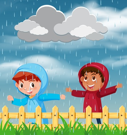 Two children playing in the rain illustration