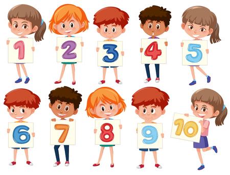 Een reeks internationale kinderen die nummerillustratie houden Vector Illustratie