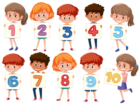 Una serie di bambini internazionali che tengono l'illustrazione del numero Vettoriali