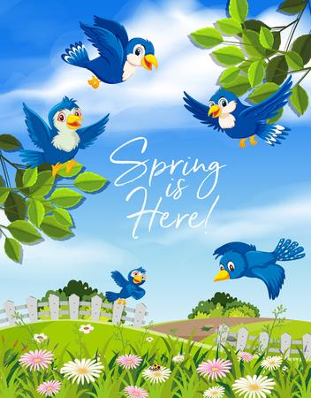 Spring is here blue bird illustration