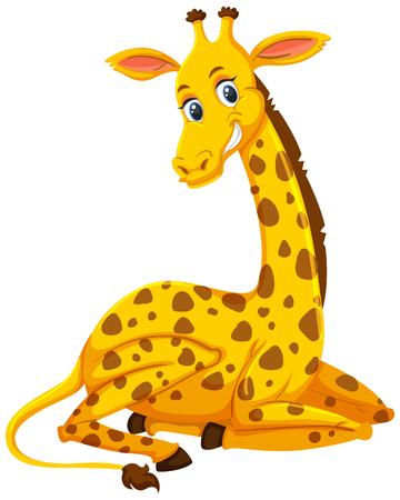 A cute giraffe on white background illustration Ilustración de vector