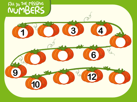 Fill in the missing numbers pumpking concept illustration