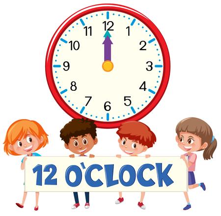 Children and time 12 o'clock illustration