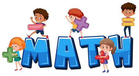 Children holding math symbols illustration