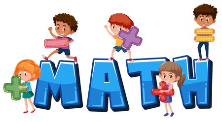 Niños con ilustración de símbolos matemáticos
