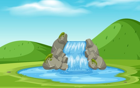 A nature waterfall landscape illustration Ilustrace