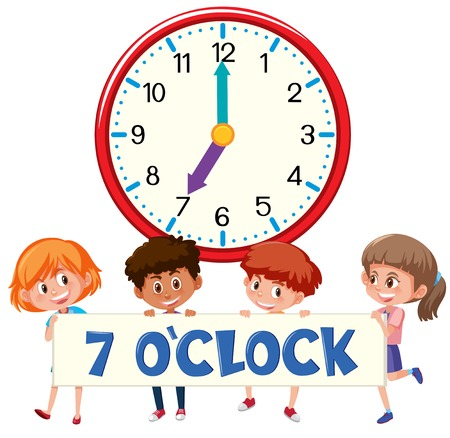 Children and clock on white bankground illustration