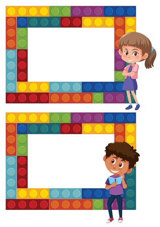 A set of boy and girl puzzle frame illustration