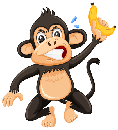 An angry monky on white background illustration