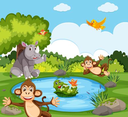 Animales salvajes en la ilustración de la naturaleza.
