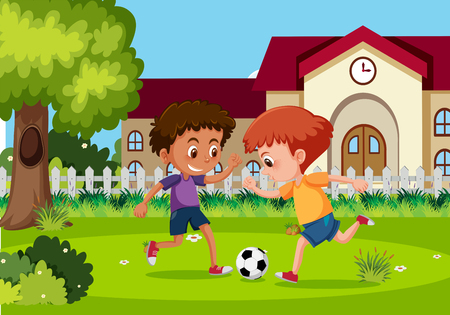 Boys playing football at garden illustration Vettoriali