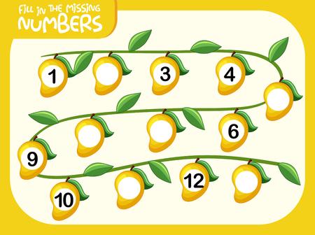 Math fill missing number worksheet illustration