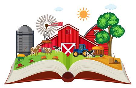 Farmland on open book illustration