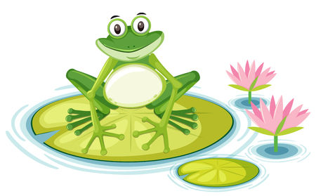 Happy frog on lily pad illustration