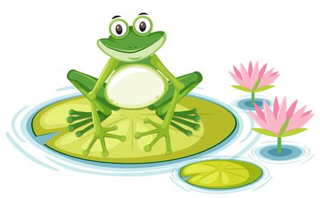Rana feliz en la ilustración de la almohadilla de lirio Ilustración de vector