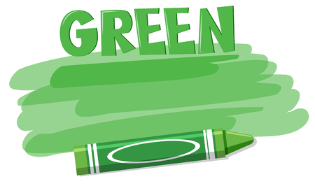 A green crayon on white background illustration