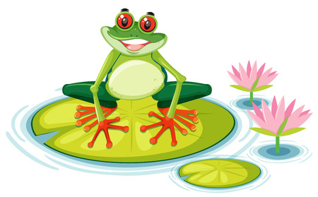 A red eyed tree frog on lily pad illustration Illustration