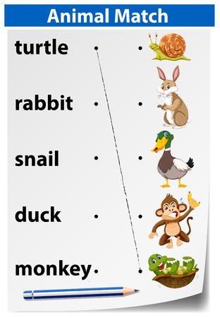 Abbildung des englischen Tierabgleichs-Arbeitsblatts