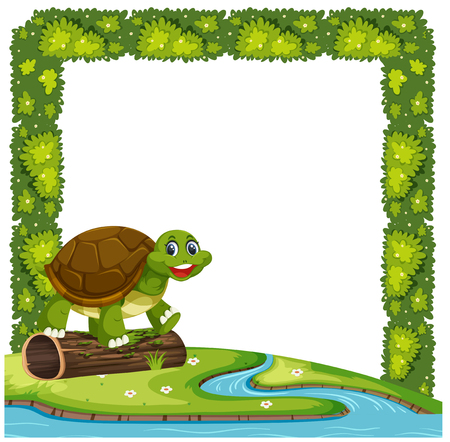 Happy turtle in nature frame illustration
