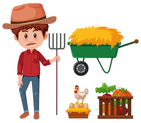 A farmer and agricultural product illustration Illustration