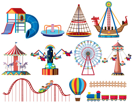 A set of theme park rides illustration Illustration