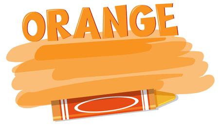 白い背景イラストにオレンジ色のクレヨン