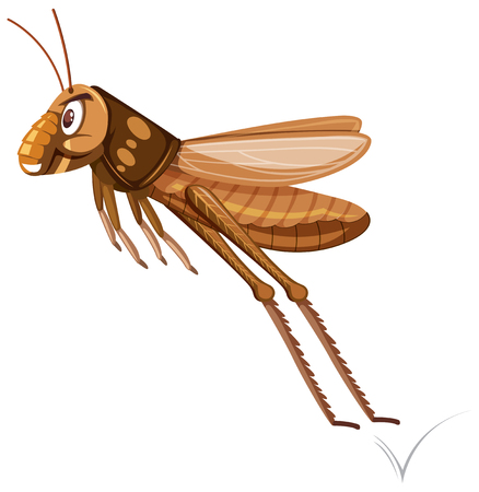 A brown grasshopper jumping illustration