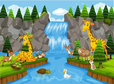 Animal en la ilustración de la hermosa naturaleza