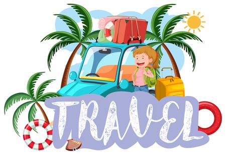 Ein Reisesymbol auf weißer Hintergrundillustration Vektorgrafik
