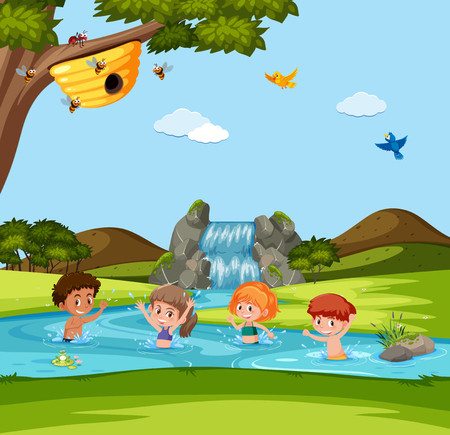 Boy and girl playing in water illustration Illustration