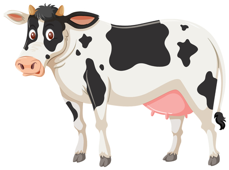 A cow on white background illustration Çizim