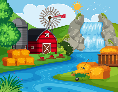 Farm land with waterfall illustration