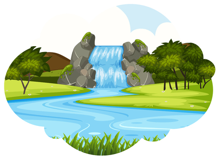 Waterfall scene cloud shape illustration