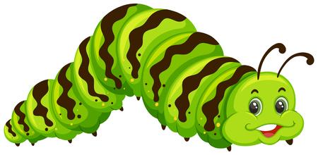 Cute green caterpillar cartoon illustration