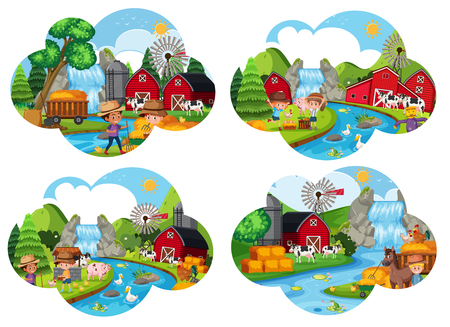 Set of farm scenes illustration Vettoriali