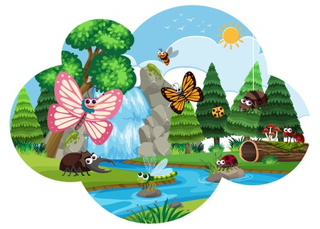 inscets and butterflys in waterfall scene illustration