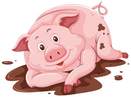 Schwein in der Schlammillustration