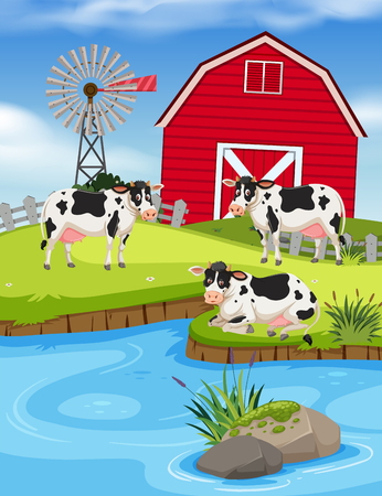Set of cows on farm illustration